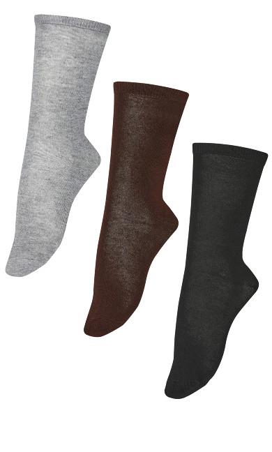 Plus Size Flat Knit Crew Socks 3 Pack - chocolate