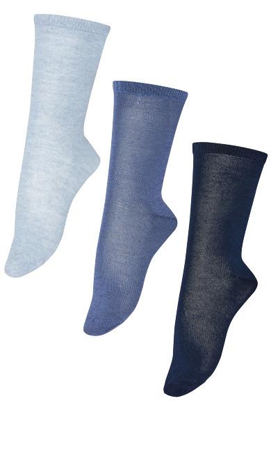 Plus Size Flat Knit Crew Socks 3 Pack - blue