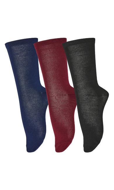 Plus Size Flat Knit Crew Socks 3 Pack - wine
