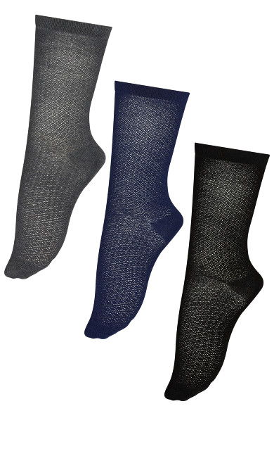 Plus Size Diamond Crew Socks 3 Pack - navy