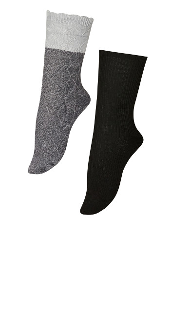 Plus Size Diamond Socks 2 Pack - grey