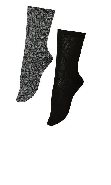 Plus Size Ribbed Socks 2 Pack - black