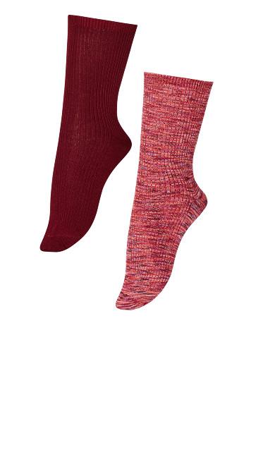 Plus Size Ribbed Socks 2 Pack - burgundy