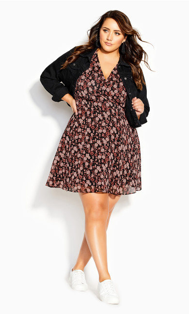 Ditsy 3/4 Sleeve Dress - black