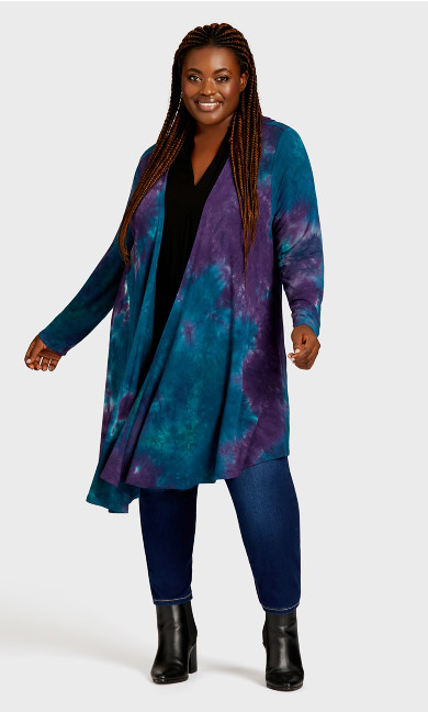 Plus Size Tie Dye Cage Cardi - purple