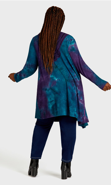Tie Dye Cage Cardigan - purple