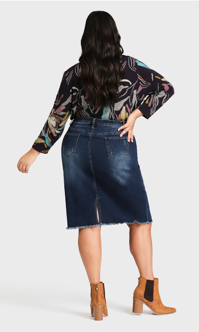 Denim Stretch Skirt - dark wash