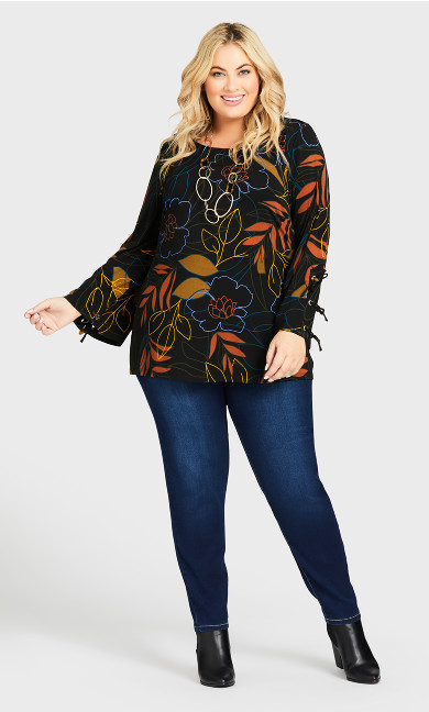 Plus Size ITY Print Cage Top - black floral