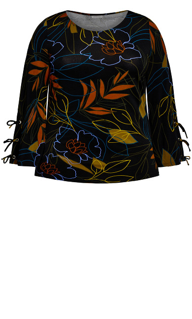 ITY Print Cage Top - black floral