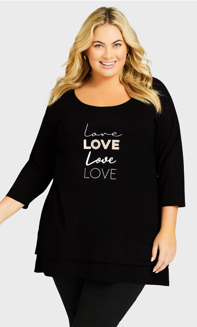 Plus Size Split Back Tunic - black