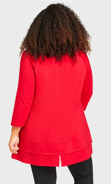 Split Back Tunic - red