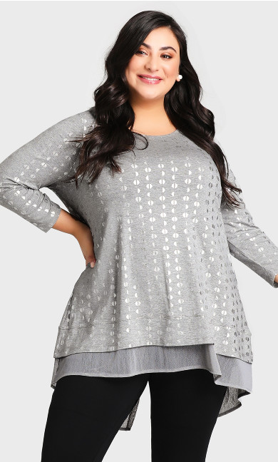 Plus Size Foil Print Tunic - charcoal
