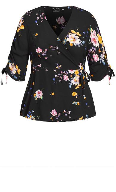 Rose Floral Top - black