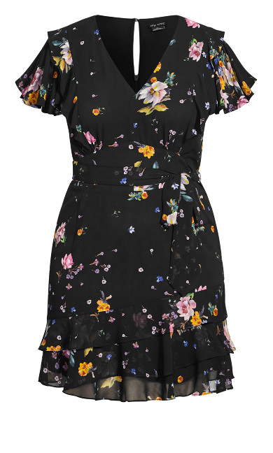 Flutter Rose Dress - black