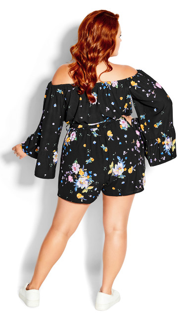 Summer Rose Playsuit - black
