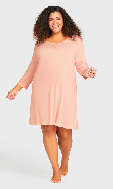 Plus Size Button Up Sleep Shirt - pink