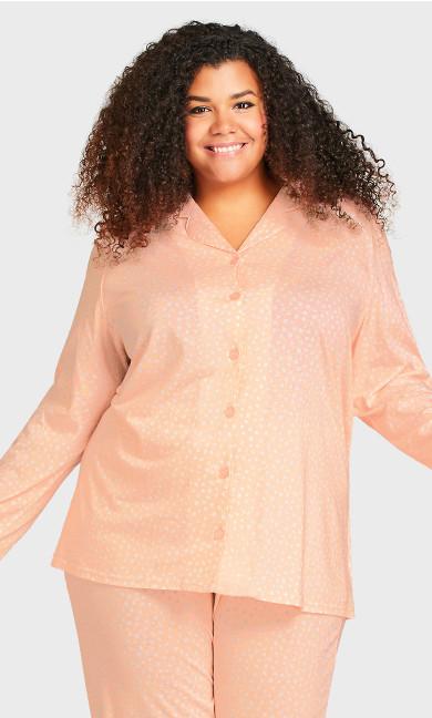 Plus Size Button Through Sleep Top - pink