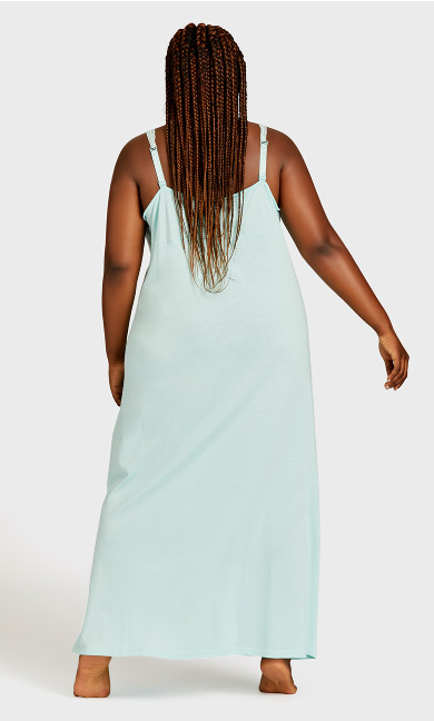 Lace Trim Mint Maxi Sleep Dress - mint