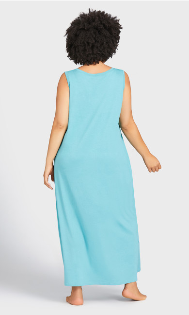 Print Maxi Sleep Dress - teal