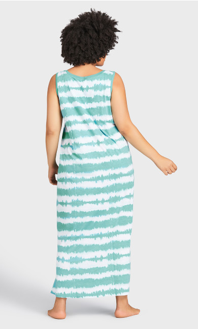 Print Maxi Sleep Dress - teal tie dye