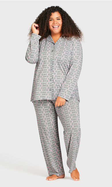 Plus Size Print Sleep Pant - gray