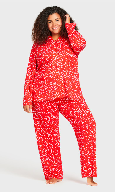 Plus Size Print Sleep Pant - red heart