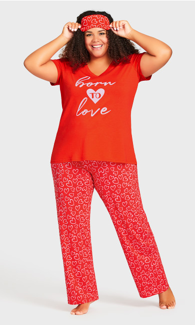 Plus Size Born To Love Sleep Set - red