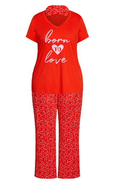 Born To Love Sleep Set - red