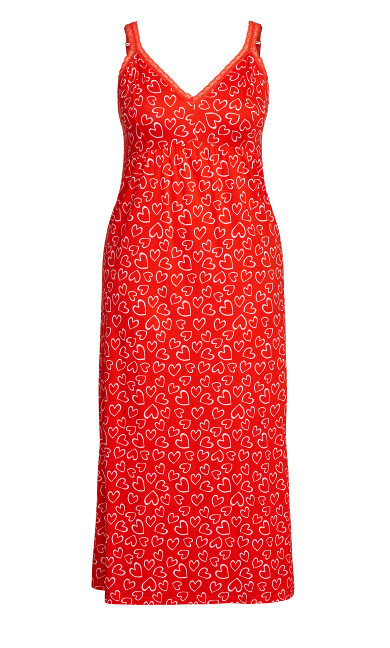Lace Print Maxi Sleep Dress - red heart