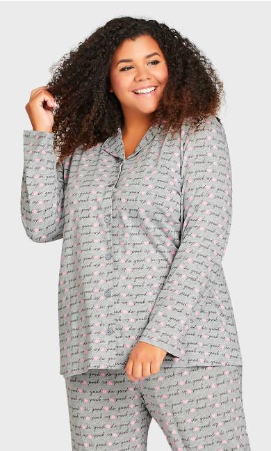 Plus Size Button Through Sleep Top - gray