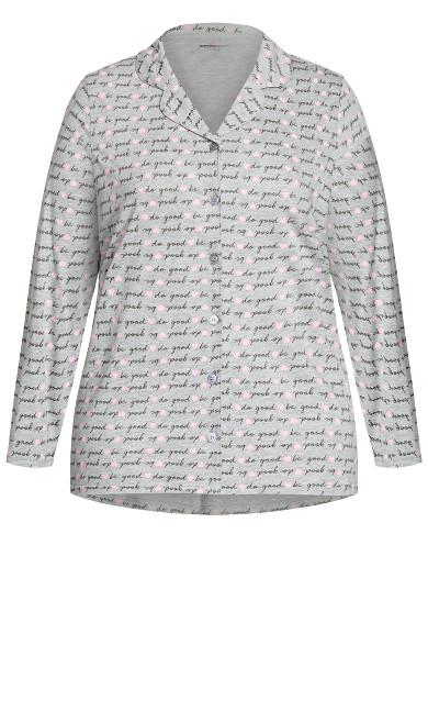 Button Through Sleep Top - gray
