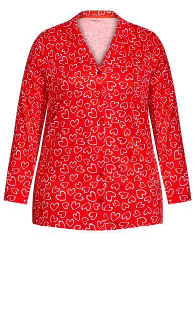 Button Through Sleep Top - red heart
