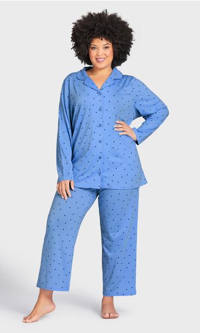 Plus Size Movie Night Sleep Pant - blue star