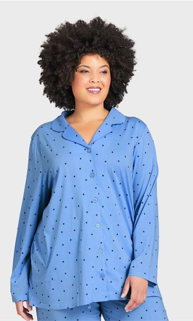 Plus Size Button Star Sleep Top - blue