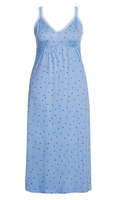 Lace Print Maxi Sleep Dress - blue star