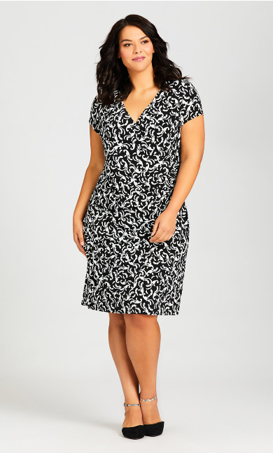 Plus Size Donna Print Dress - baroque mono