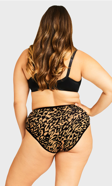 Fashion Cotton Lace Hi Cut Brief - animal