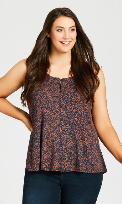 Plus Size Knitted Tank Top - brown