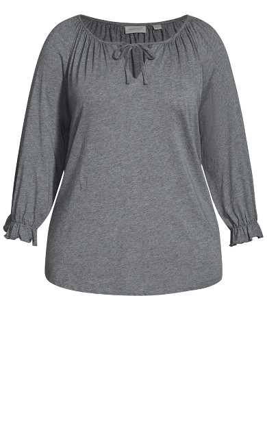 Knit Peasant Top - gray