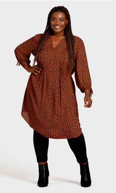 Plus Size Woven Shirt Dress - spice