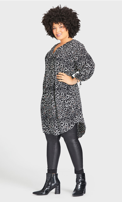 Plus Size Woven Shirt Dress - black