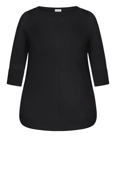 3/4 Sleeve Popover Sweater - black