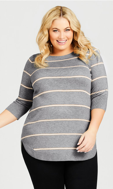Plus Size 3/4 Sleeve Popover Sweater - gray