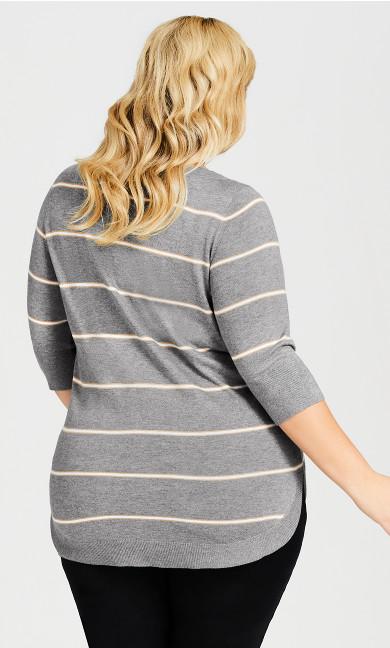 3/4 Sleeve Popover Sweater - gray