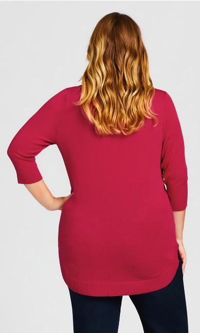 3/4 Sleeve Popover Sweater -  fuchsia