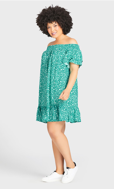 Woven Off Shoulder Dress - aqua