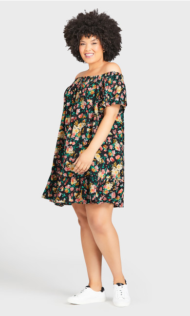 Woven Off Shoulder Dress - black floral