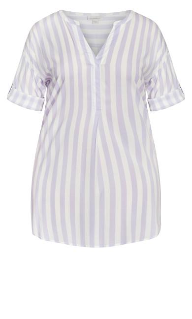 Woven 3/4 Sleeve Blouse Tunic - stripe