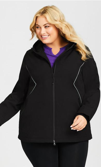 Zip Hood Mid Jacket - black