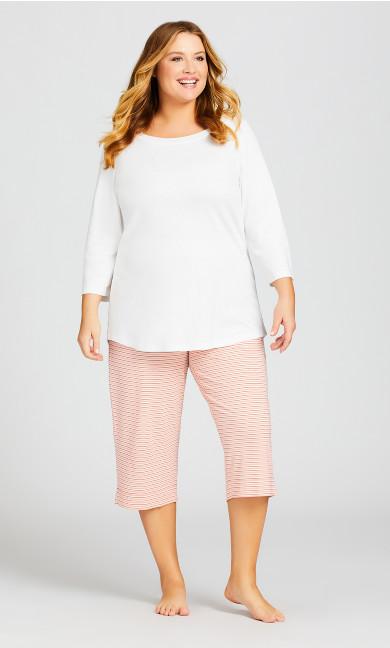 Plus Size Ponte Capri Sleep Pant - rose stripe